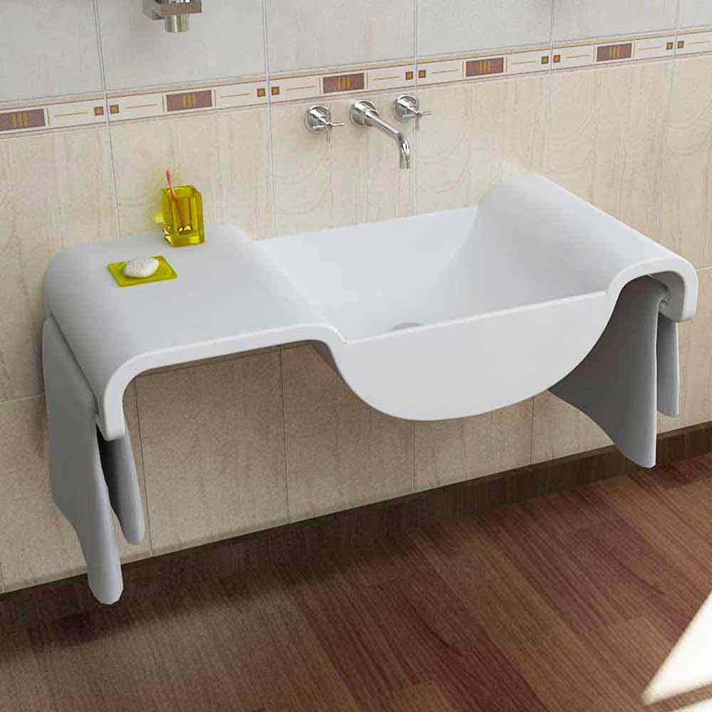 Waschbecken Modern Weiß Onda Made In Italy