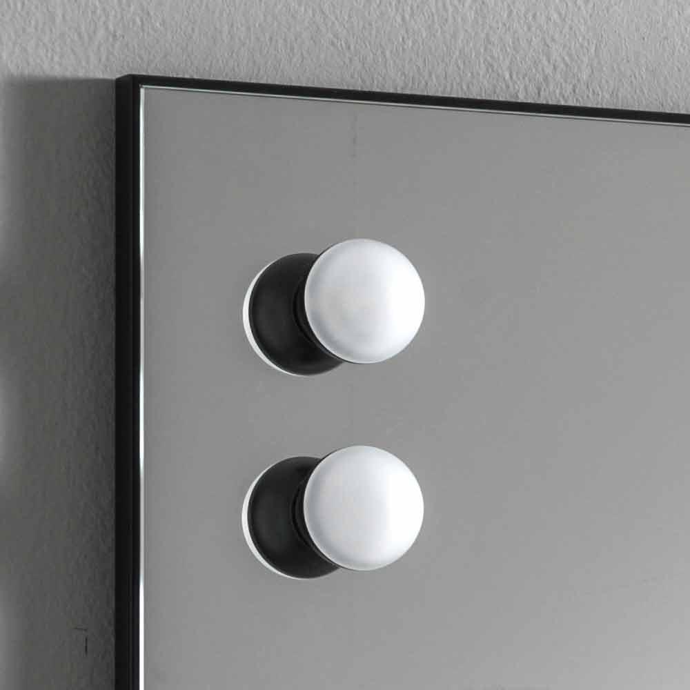 Rechteckiger Designspiegel mit Glühbirnen aus Italien