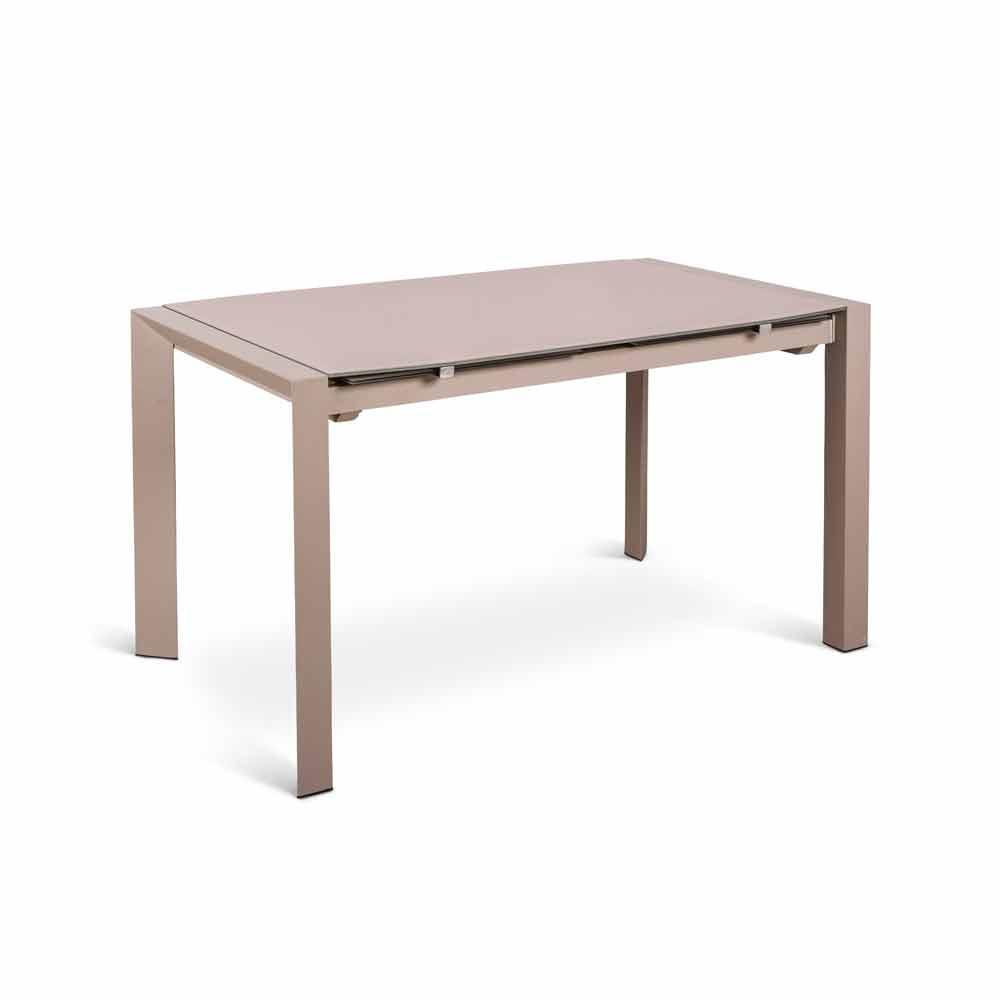 Tisch in modernem design ausziehbar mit glas tischplatte zeno for Tisch design ausziehbar