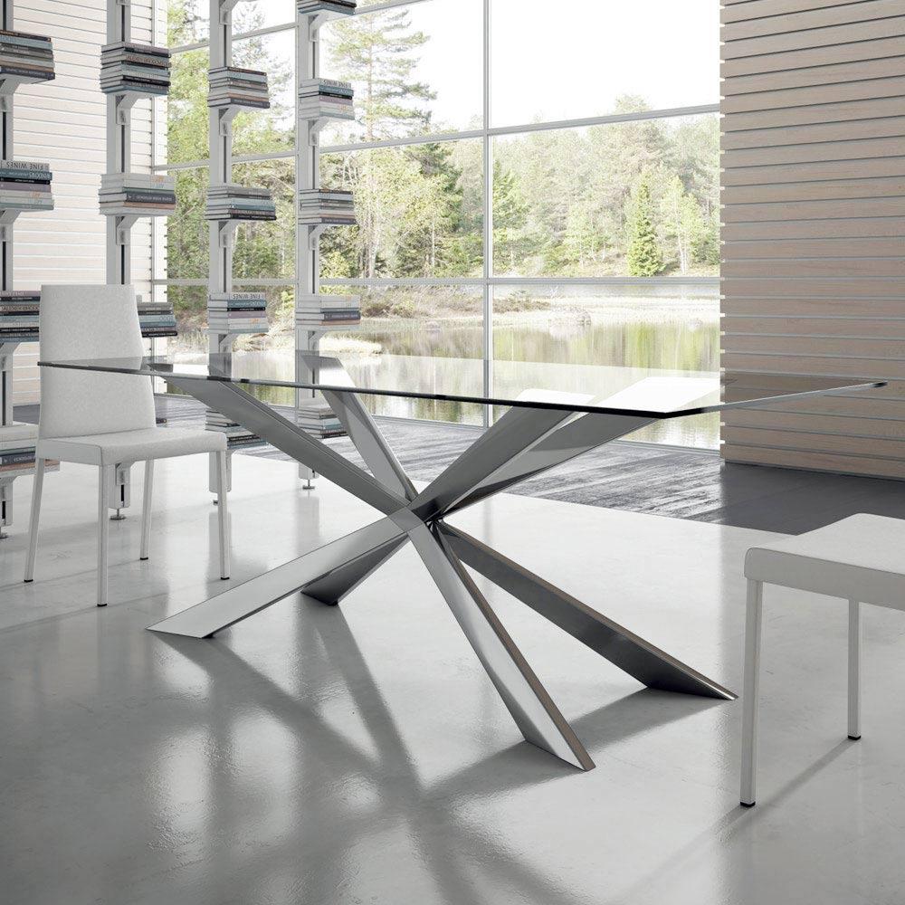 Moderner Esstisch bis 14 Sitzplätze aus Glas und Stahl – Grotta