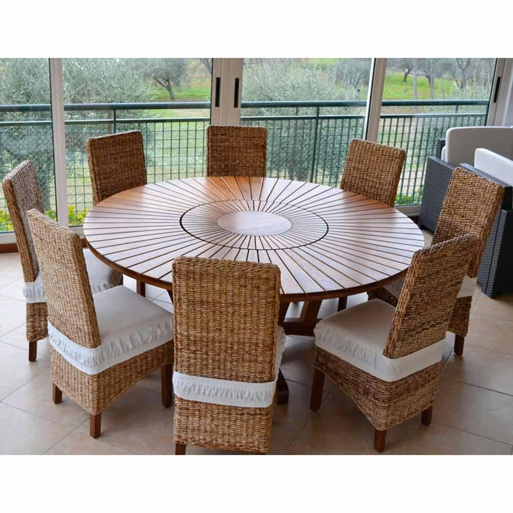 Runder Tisch mit Drehplatte aus Teak und Massivholz für ...