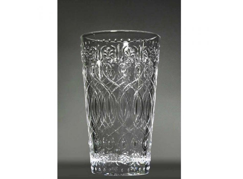 12 dekorierte transparente Glasgetränkegläser für Getränke - marokkanisch