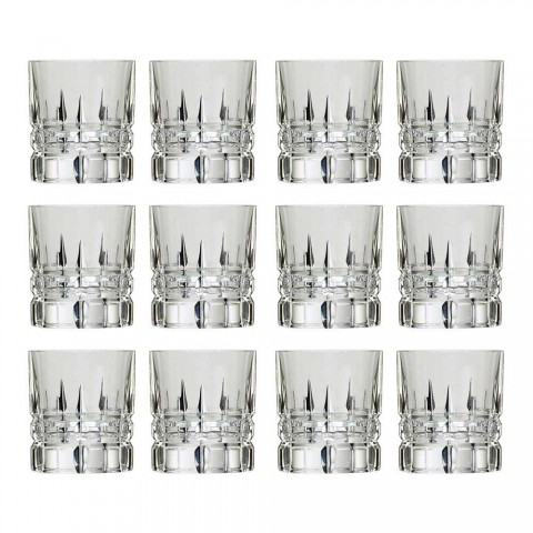 12 doppelte altmodische Becher Basso Whiskygläser aus Kristall - Fiucco