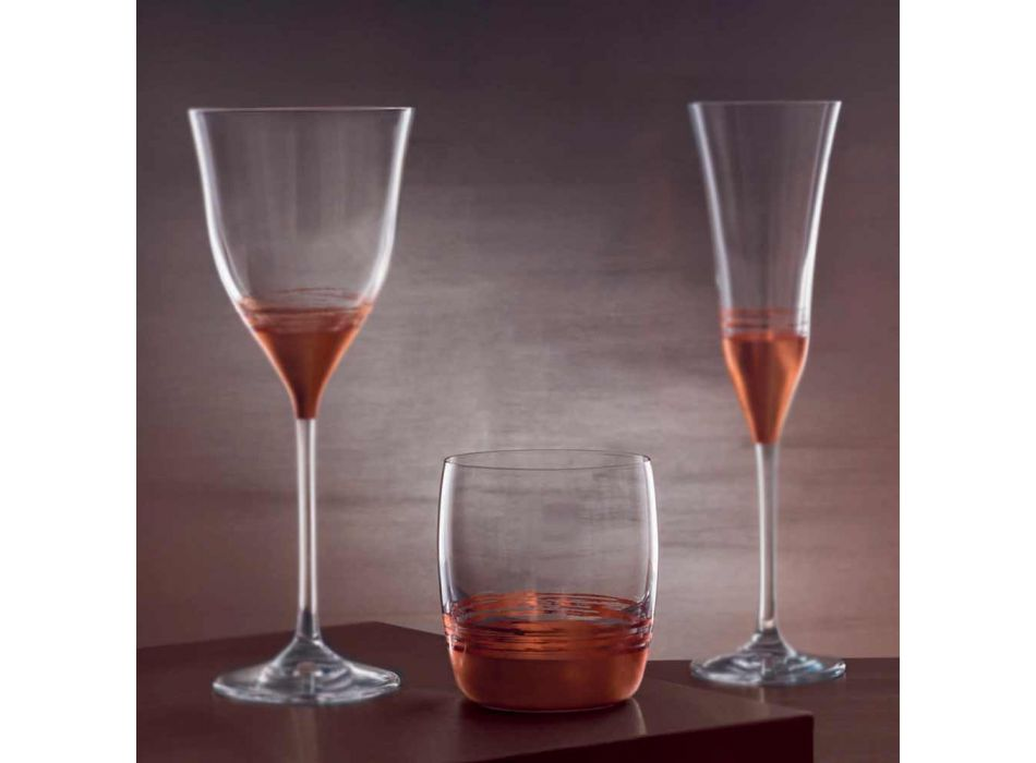 12 Low Tumbler Gläser für Wasser mit Gold-, Platin- oder Bronzeblatt - Soffio