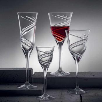 12 Champagnerflötengläser aus innovativ verziertem ökologischem Kristall - Zyklon