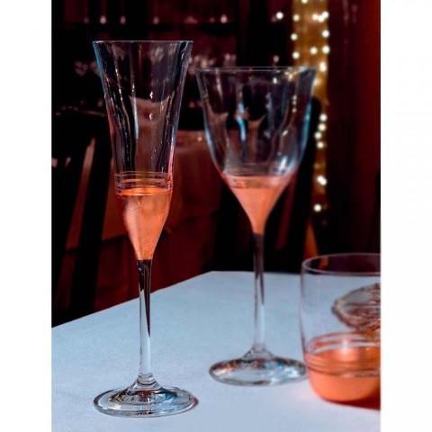 12 Kristallflötenbecher mit luxuriösem Goldbronze- oder Platinblatt - Soffio