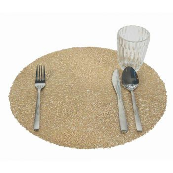 12 runde Weihnachts-Tischsets aus PVC Gold oder Silber zum Mittag- oder Frühstück - Tovagly