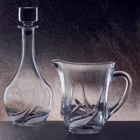 2 Wasserkrüge aus ökologischem Kristall mit luxuriösen Dekorationen Made in Italy - Advent