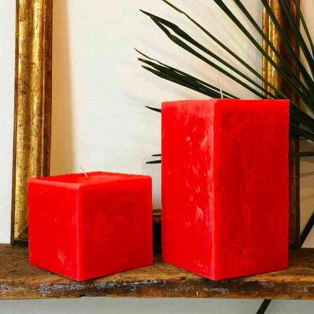 2 quadratische Kerzen verschiedener Größen aus Wachs Made in Italy - Adelle