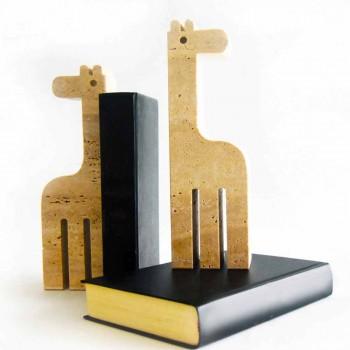 2 Buchstützen aus Travertinmarmor in Form einer Giraffe Made in Italy - Morra
