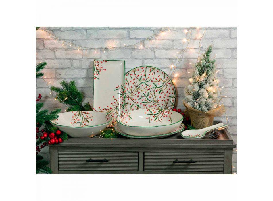 2 Salatschüsseln mit Weihnachtsdekoration in Porzellantellern - Metzgerbesen