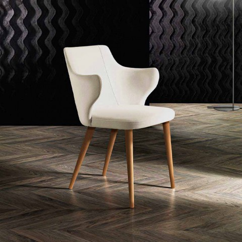 2 Esszimmer Sessel aus farbigem Stoff und Design Ash - Duchessa