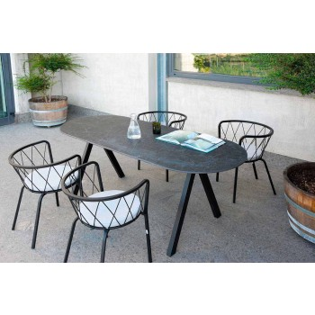 2 Outdoor-Sessel aus lackiertem Metall stapelbar Made in Italy - Adia
