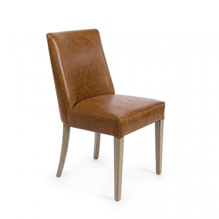 2 Designstühle aus braunem Kunstleder und Eichenholz Homemotion - Gallia