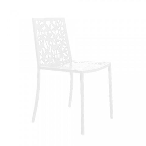 2 modern geschnitzte lasergeschnitzte Stühle aus weißem Metall - Patatix