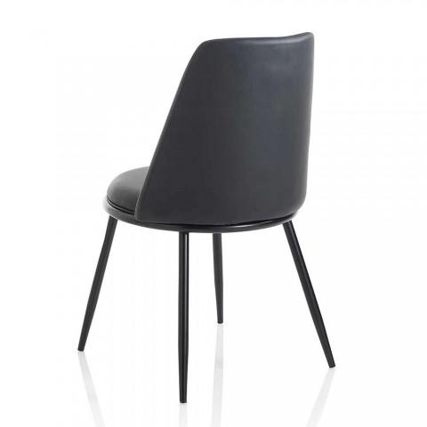 2 moderne Esszimmerstühle aus Kunstleder und Matt Black Metal - Frizzi