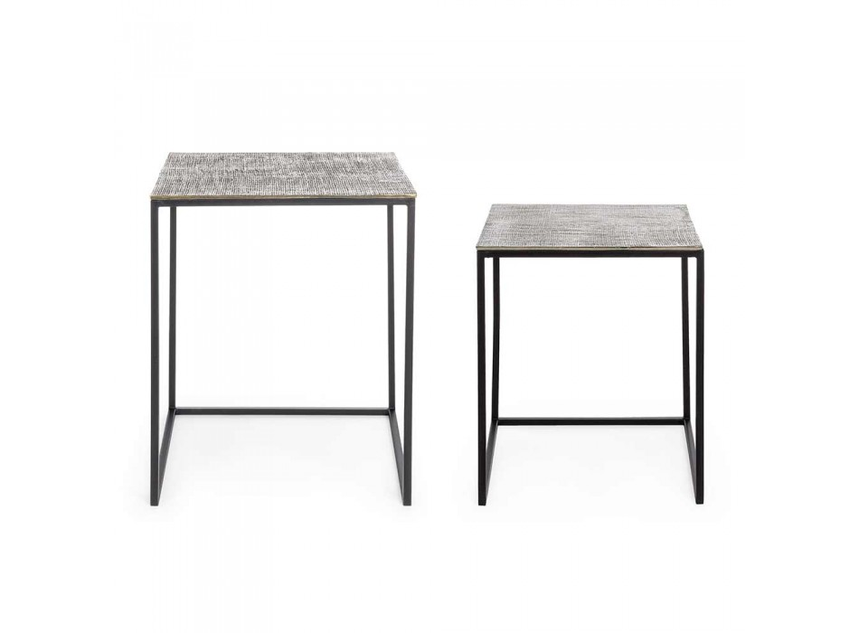 2 Couchtische aus Homemotion-Aluminium und lackiertem Stahl - Sereno