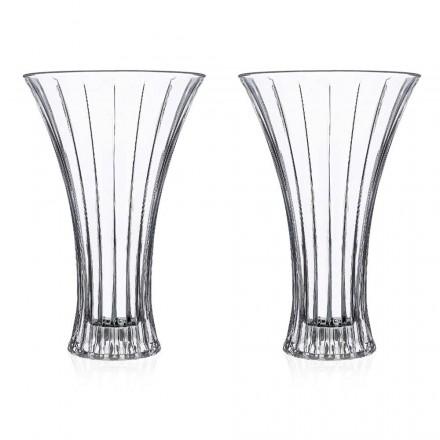 2 Design-Dekorationsvasen aus transparentem, mit Öko-Kristallen verziertem Luxus - Senzatempo