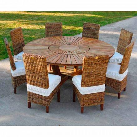 Runder Gartentisch mit Drehplatte aus Teak und Massivholz