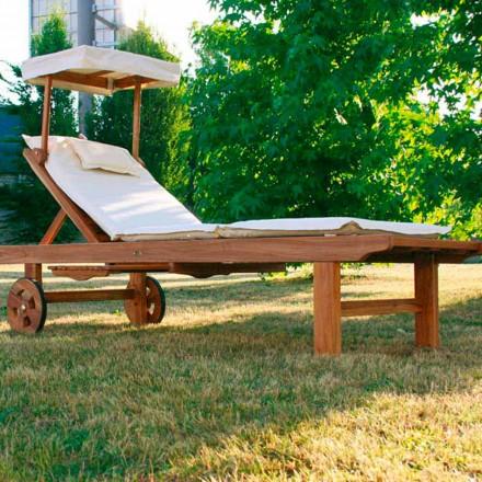 Verstellbare Sonnenliege für den Außenbereich in Teak Holz