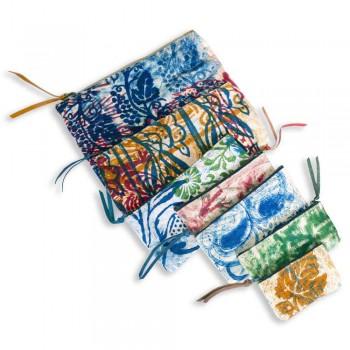 3 handbedruckte Baumwollkupplungen in Einzelstücken - Viadurini von Marchi