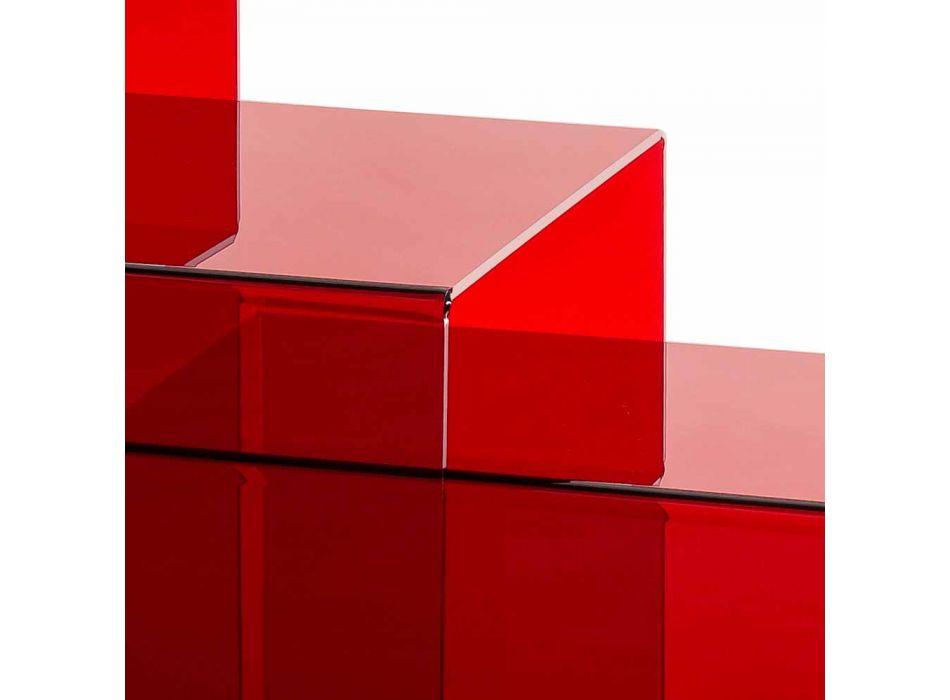 3 rote Amalia Stapeltische, modernes Design, Made in Italy