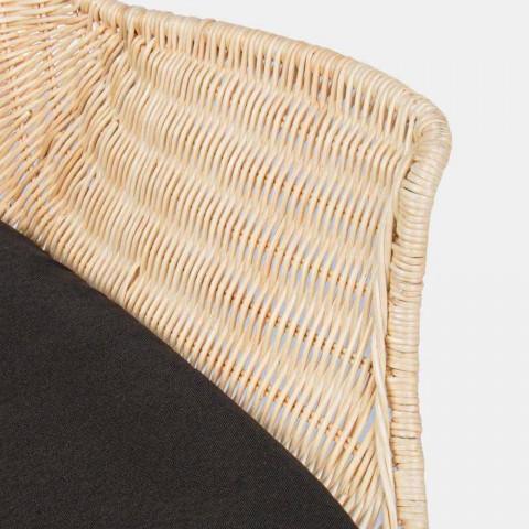 4 Gartenstühle aus gewebtem Wicker und Stahl Homemotion - Berecca