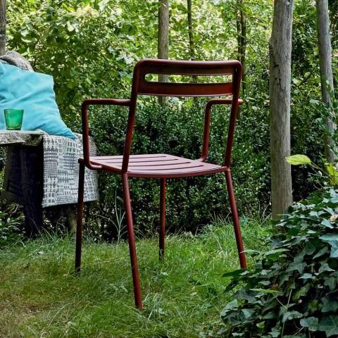 4 stapelbare Metallstühle im Freien Made in Italy - Yolonda