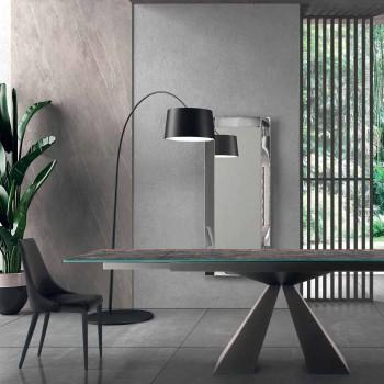 4 moderne Stahlstühle mit gepolstertem Samtsitz Made in Italy - Nirvana