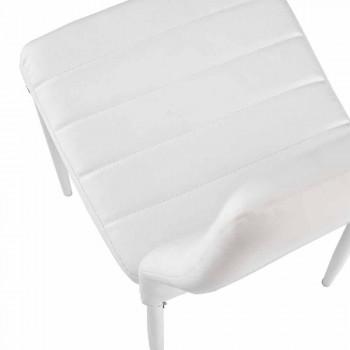 4 moderne Esszimmerstühle aus Lederimitat und Metallbeinen - Spiga