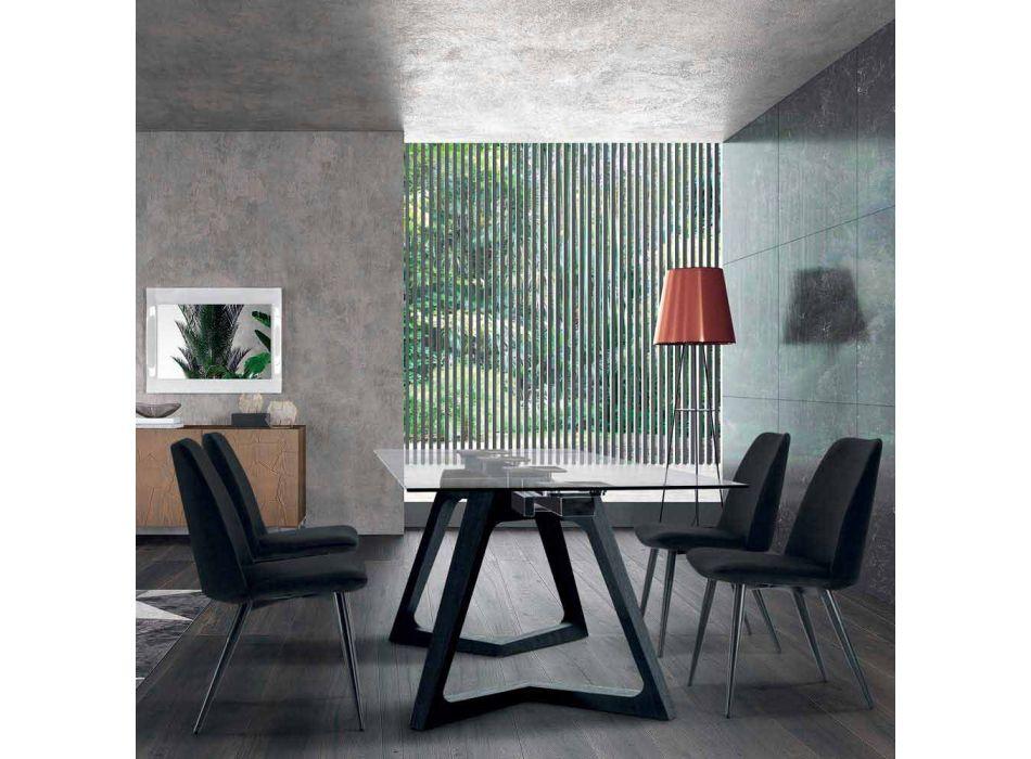 4 gepolsterte Esszimmerstühle gepolstert in Samt Made in Italy - Grain