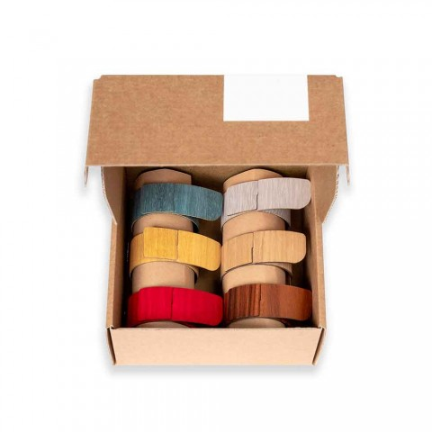 6 Serviettenringe aus modernem Holz und Stoff Made in Italy - Potty