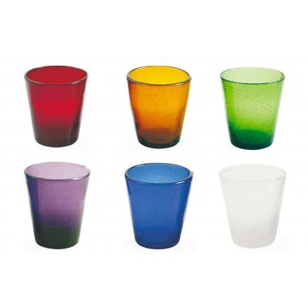 12 Gläser Wasserfahrzeugservice aus farbigem geblasenem Glas - Yucatan