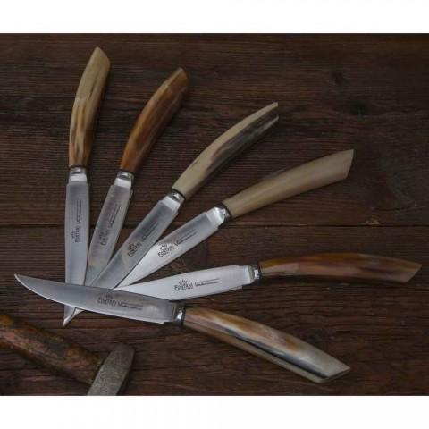 6 handwerkliche Küchenmesser mit Ochsenhorngriff Made in Italy - Marine