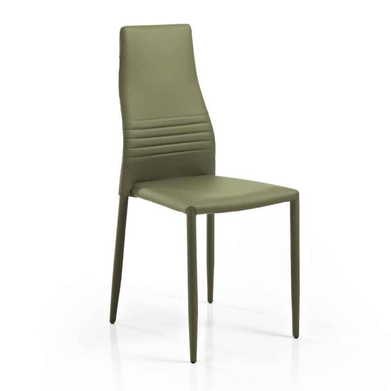6 stapelbare Stühle aus farbigem Öko-Leder Modernes Design für Wohnzimmer - Merida