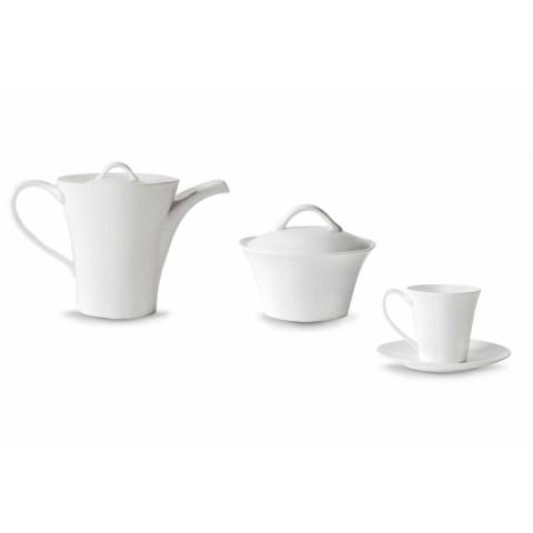6 Porzellan-Kaffeetassen mit Teller, Kaffeekanne und Zuckerdose - Romilda