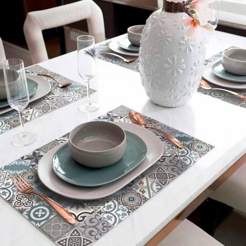 6 waschbare amerikanische Tischsets aus PVC und Polyester - Belita