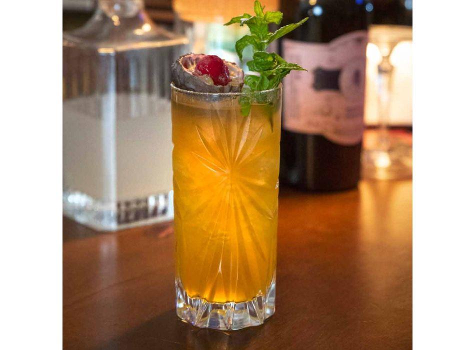 8 Highball Tumbler Tall Glasses für Cocktail in Eco Crystal - Malgioglio