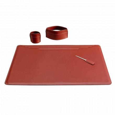 Zubehör für Schreibtisch aus Leder, 4 Stück, Made in Italy - Ebe
