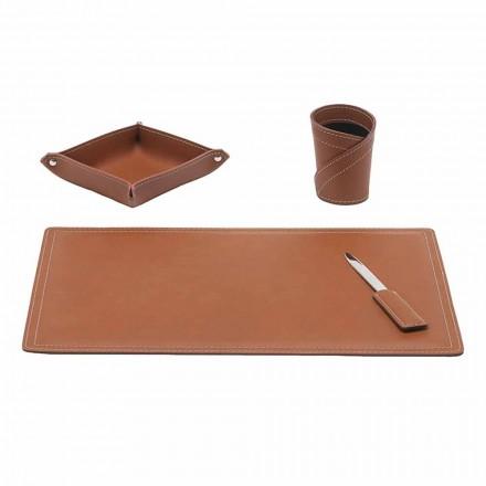 Zubehör Schreibtisch aus regeneriertem Leder, 4 Stück, Made in Italy - Ascanio