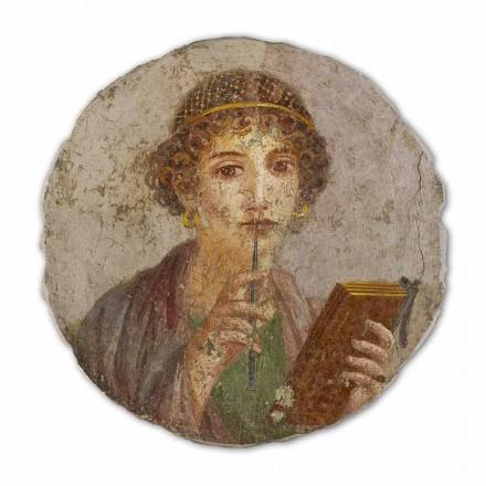 Reproduktion großes Fresko die Dichterin Sappho Pompeji