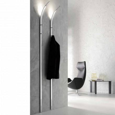Metallwand Kleiderbügel mit 2 Haken und LED-Licht Made in Italy - Osmio