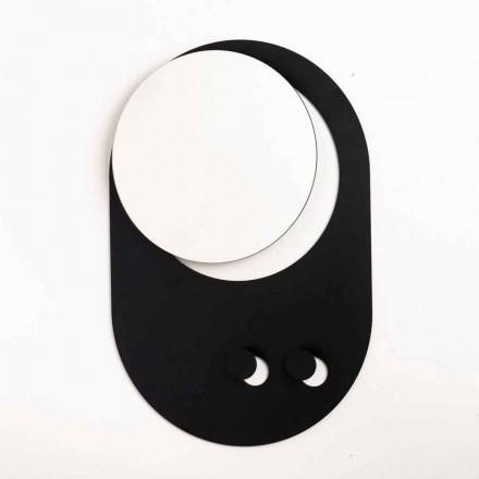 Modernes Wandgarderobe aus Stahl mit Spiegel Made in Italy - Pilippo