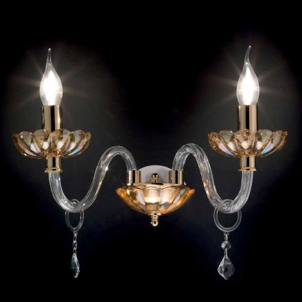 Wandleuchte mit 2 Leuchten, klassisches Design in Belle Kristall und Glas