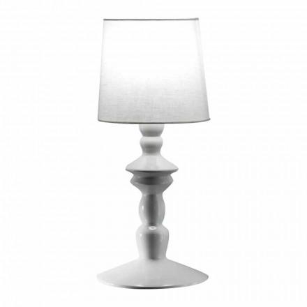 Wandleuchte aus lackierbarer Keramik und Lampenschirm aus weißem Leinen - Cadabra
