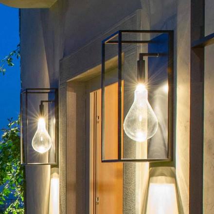 Eisenwandleuchte im Freien mit warmem LED-Licht und Glas Made in Italy - Falda