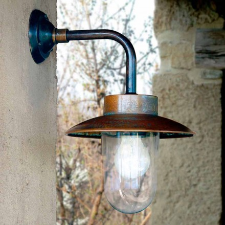 Wandlampe aus Kupfer, Glas und Messing Nabucco Aldo Bernardi