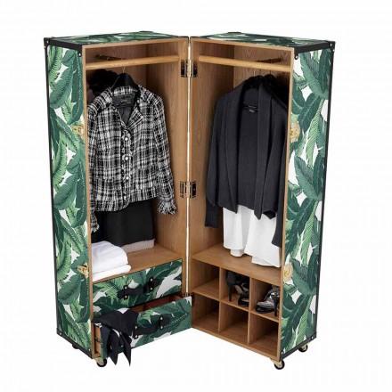 Moderne Garderobe mit Rädern aus Mdf, Furnierholz und Stoff - Amazonien