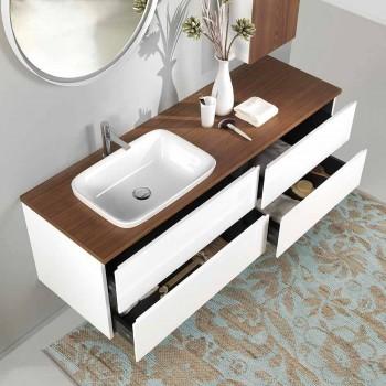 Badezimmermöbel in Weiß und Nussbaumholz mit Waschbecken, Schrankwand und Spiegel - Renga