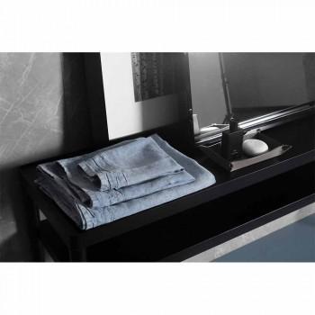 Hellblaues schweres Leinen-Gesichtstuch Italienisches Luxus-Design - Jojoba
